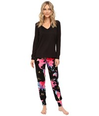 Bedhead French Terry Long Sleeve Hoodie And Jogger Pants Set Bon Voyage Women's Pajama Sets Blue