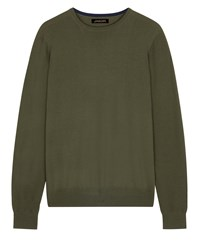 Jaeger Merino Wool Crew Neck Sweater Olive