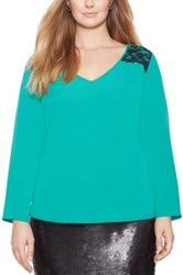 Eloquii Lace Trim V Neck Blouse Plus Size Green