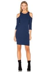 Eight Sixty Cold Shoulder Ribbed Dress Navy