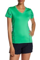 Peter Millar V Neck Short Sleeve Coverstitch Tee Green