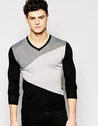 Dkny V Neck Jumper Asymmetric Colour Block Black