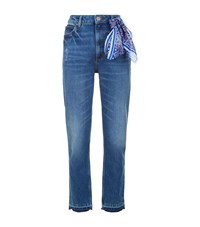 Sandro High Rise Jeans With Scarf Blue