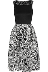 Holly Fulton Embellished Wool And Printed Silk Crepe Dress