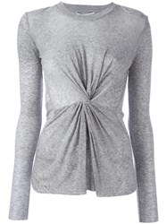 Derek Lam 10 Crosby Front Knot Sweater Grey
