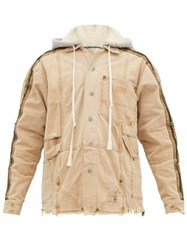 Greg Lauren Distressed Canvas Hooded Work Jacket Brown