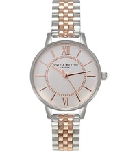 Olivia Burton Ob15wd40 Wonderland Rose Gold Plated Stainless Steel Watch Silver