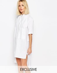 House Of Sunny Shirt Dress With Zip Front White Grey