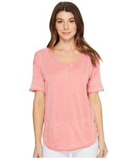 Jag Jeans Caf Tee In Burnout Jersey Coral Reef Women's T Shirt Red