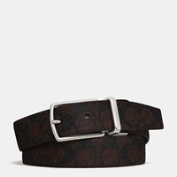 Coach Modern Harness Cut To Size Reversible Signature Belt Mahogany Dark Brown