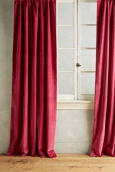 Anthropologie Matte Velvet Curtain Pink