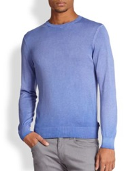 Armani Collezioni Cotton Crewneck Sweater Faded Cobalt