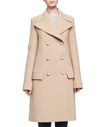 Chloe Double Breasted Wool Crepe Coat Camel