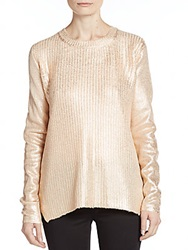 Saks Fifth Avenue Red Lame Crackle Side Zip Sweater Rose Gold