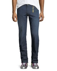 Robin's Jeans Heavy Stitched Distressed Dark Blue