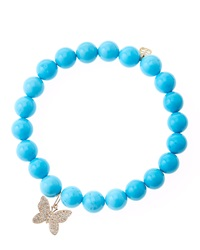 Sydney Evan Blue Turquoise Round Beaded Bracelet With 14K Gold Diamond Small Butterfly Charm Made To Order