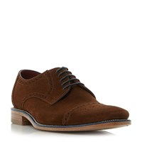 Loake Foley Brogue Toecap Leather Gibson Shoes Brown