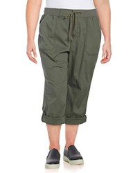 Lord And Taylor Plus Solid Cotton Blend Capri Pants Green
