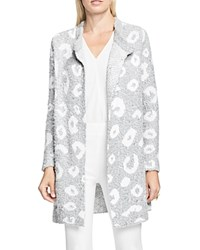 Vince Camuto Leopard Print Jacquard Cardigan Light Heather Grey