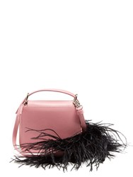 Marques Almeida Feather Trimmed Leather Cross Body Bag Black Pink