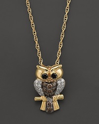 Bloomingdale's Brown Black And White Diamond Owl Pendant Necklace In 14K Yellow Gold .25 Ct. T.W.