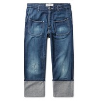 Loewe Cuffed Distressed Denim Jeans Mid Denim