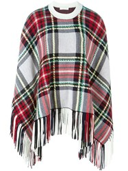 Chloa Checked Poncho Red