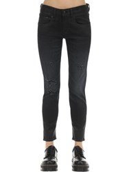 R 13 Boy Straight Leg Coated Cotton Jeans Black