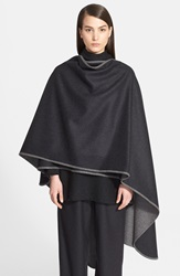 Eskandar Two Tone Wool And Cashmere Cape Coal Midgrey