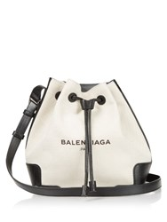 Balenciaga Canvas And Leather Bucket Bag Black Beige