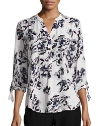 Ivanka Trump Floral Print Three Quarter Sleeve Blouse Purple