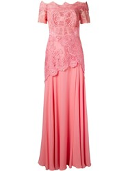 Martha Medeiros Off The Shoulder Lace Patricia Gown Pink Purple