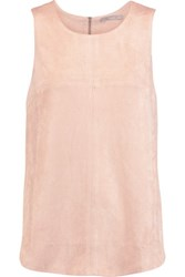 Tart Collections Sidra Split Side Faux Stretch Suede Top Pink