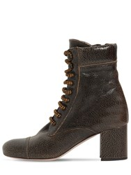 Miu Miu 65Mm Crackled Leather Ankle Boots Brown