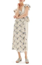 Topshop Women's Floral And Lace Midi Dress Ivory Multi