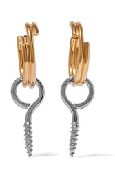 Balenciaga Silver Plated And Gold Plated Earrings