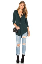 Michael Stars Long Sleeve Tunic Henley Top Green