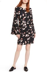 Halogen Petite Women's Bow Back Floral Shift Dress Black Pink Floral