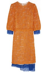 Michael Van Der Ham Organza Trimmed Macrame Dress Orange
