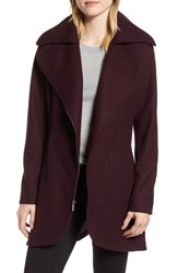 Halogen Asymmetrical Zip Wool Blend Coat Wine