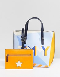 Tommy Hilfiger Multi Logo Tote Bag With Pouch Orange Mix