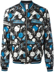 Dolce And Gabbana Musical Instrument Print Bomber Jacket Black