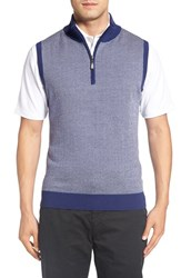 Bobby Jones Men's Quarter Zip Herringbone Merino Wool Sweater Vest Summer Navy