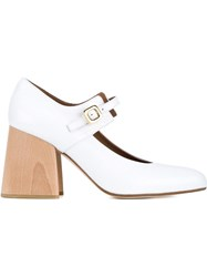 Marni Patent Leather Mary Janes With Wooden Block Heel White
