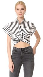 Alexander Wang T By Striped Twist Front Crop Shirt Black And White