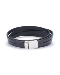 Gilbert Gilbert Navy Blue Double Wrap Leather And Silver Bracelet