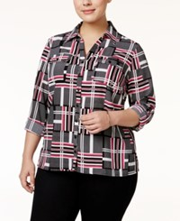 Ny Collection Plus Size Printed Utility Blouse Pink Contour