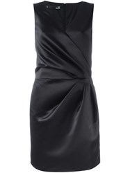 Love Moschino Gathered Detail V Neck Dress Black
