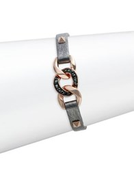 Karl Lagerfeld Filed Chain Leather Bracelet Gunmetal