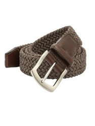 Saks Fifth Avenue Woven Buckle Belt Brown